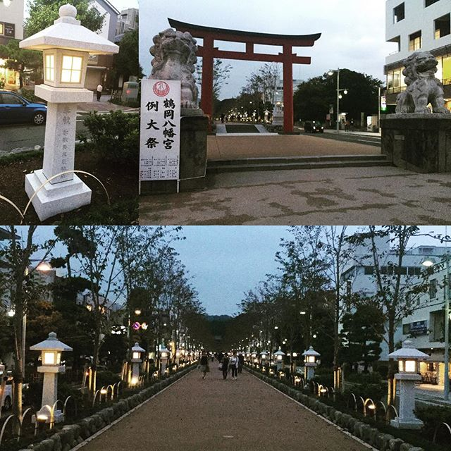 Coming Kamakura,the entrance of shrine in the evening.Feeling solemn taste...
